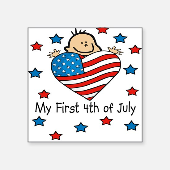 1st 4th of July Baby/Toddlers Square Sticker