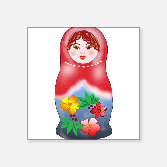 May Day Nesting Doll Square Sticker