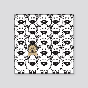 Briard in the Sheep Square Sticker