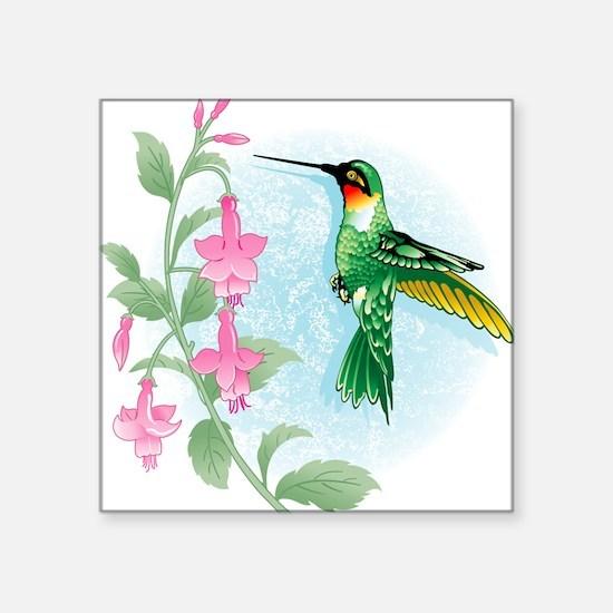 FUCIA HUMMINGBIRD Square Sticker
