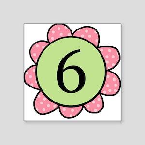 6 pink/green flower Square Sticker