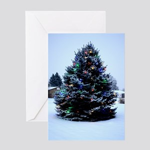 Outdoor Christmas tree Decorated Greeting Card