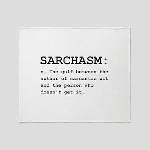 Sarchasm Definition Black Throw Blanket