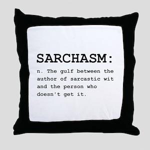 Sarchasm Definition Black Throw Pillow