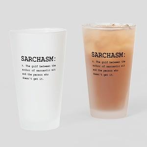 Sarchasm Definition Black Drinking Glass