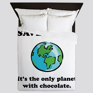 Save Earth Chocolate Black Queen Duvet