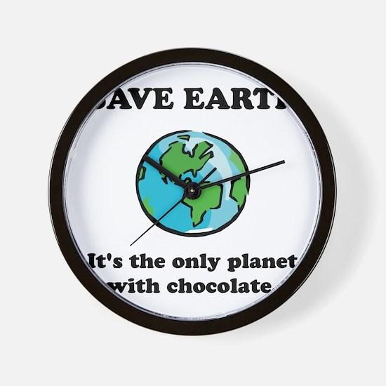 Save Earth Chocolate Black.png Wall Clock
