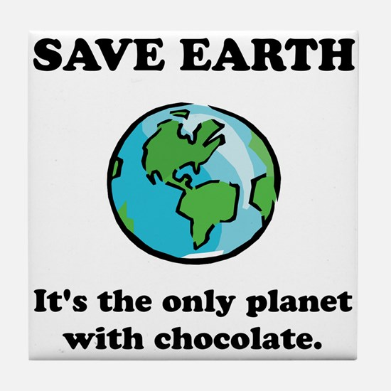 Save Earth Chocolate Black.png Tile Coaster
