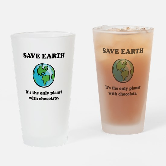 Save Earth Chocolate Black.png Drinking Glass