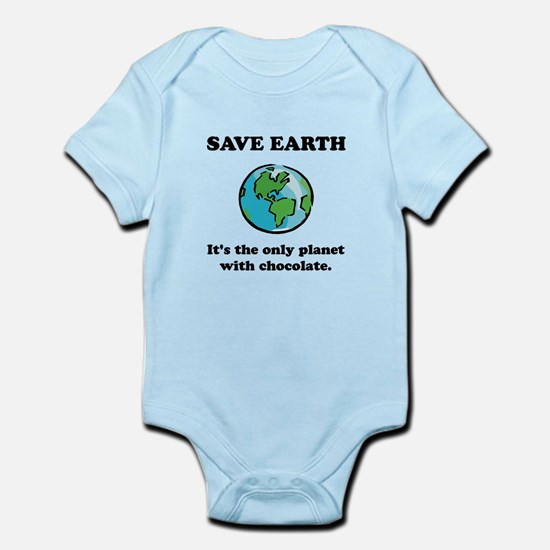 Save Earth Chocolate Black.png Infant Bodysuit