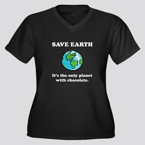 Save Earth Chocolate Black.png Women's Plus Size V