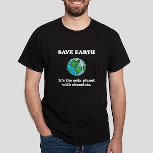 Save Earth Chocolate Black Dark T-Shirt