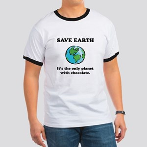 Save Earth Chocolate Black Ringer T