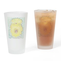 Yellow Barrel Cactus Flowers Drinking Glass