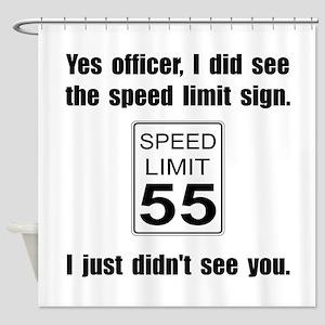 Speed Limit Black Shower Curtain