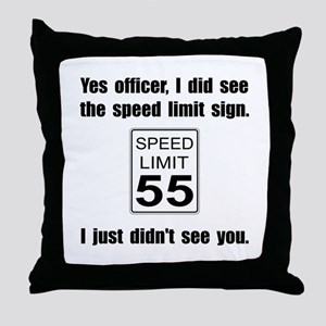 Speed Limit Black Throw Pillow