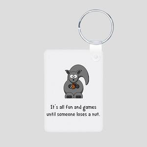 Squirrel Nut Black Aluminum Photo Keychain