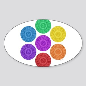 seven chakras circle bold Sticker (Oval)