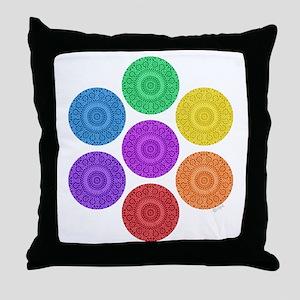 seven chakras circle bold Throw Pillow