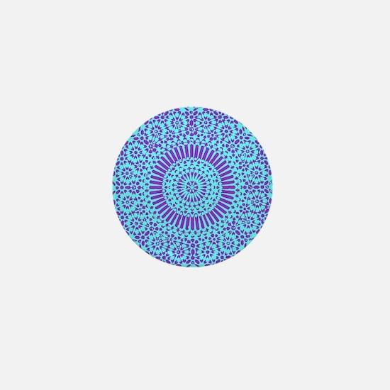 spiritual meditation mandala (aqua) Mini Button