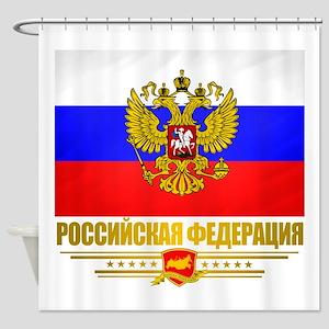 Russian Flag COA Shower Curtain