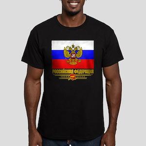 Russian Flag COA Men's Fitted T-Shirt (dark)