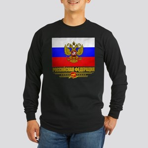Russian Flag COA Long Sleeve Dark T-Shirt