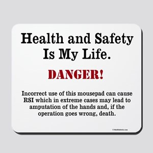 Health and Safety Gift - Funny Warning Mousepad