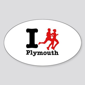 I Run Plymouth Sticker (Oval)