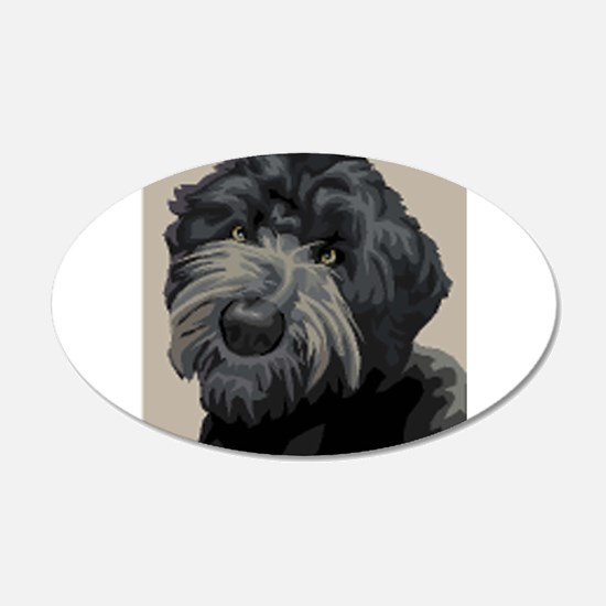 Black Russian Terrier 22x14 Oval Wall Peel
