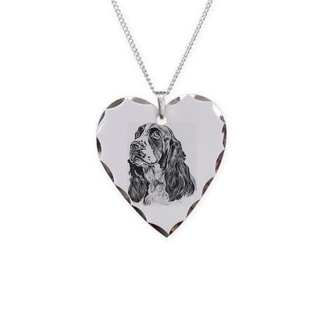 English Springer Spaniel Necklace Heart Charm