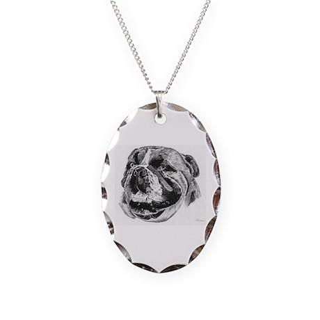Bulldog Necklace Oval Charm
