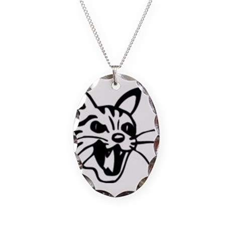 cat face Necklace Oval Charm