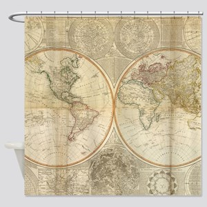 Vintage Map of The World (1799) 2 Shower Curtain
