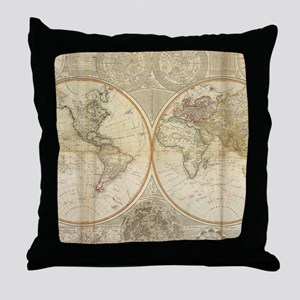 Vintage Map of The World (1799) 2 Throw Pillow