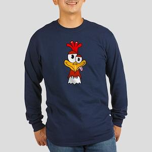 Crazy Chicken Head Long Sleeve Dark T-Shirt