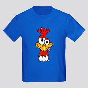 Crazy Chicken Head Kids Dark T-Shirt