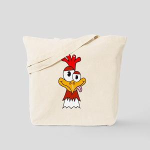 Crazy Chicken Head Tote Bag