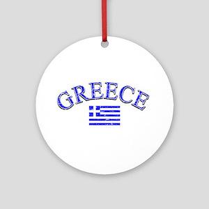 Greece Soccer Designs Ornament (Round)