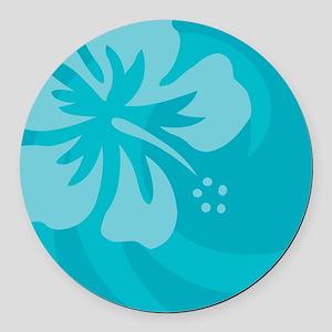 Hibiscus Light Blue Round Car Magnet