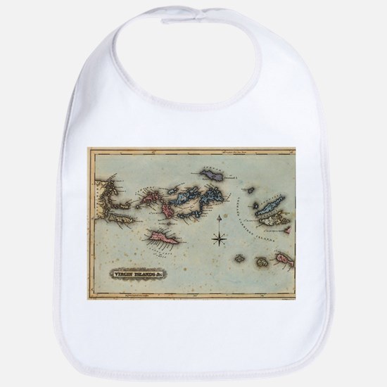 Vintage Map of The Virgin Islands (1823) Baby Bib