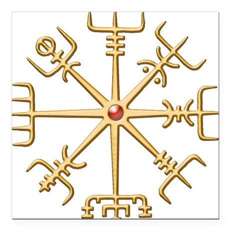 Gold Viking Compass (wide) Square Car Magnet