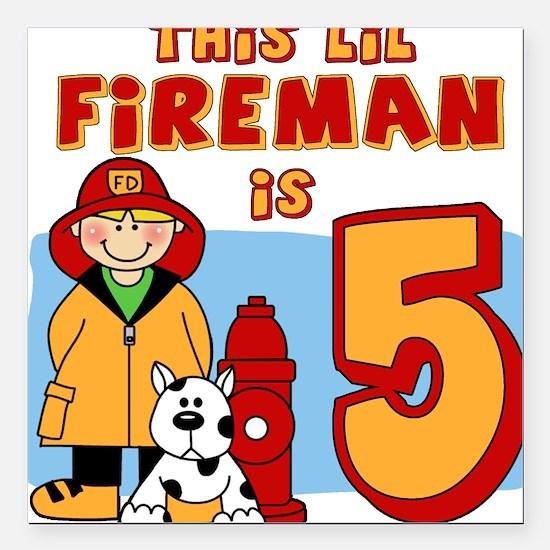 Fireman 5th Birthday Square Car Magnet