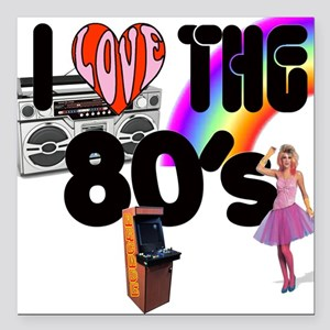 I Love The 80's Square Car Magnet