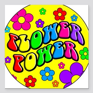 FLOWER POWER Square Car Magnet