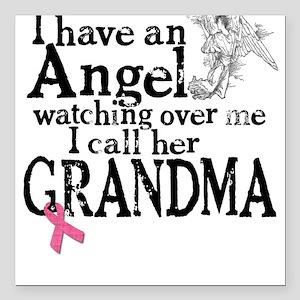 Breast Cancer Grandma Angel Square Car Magnet