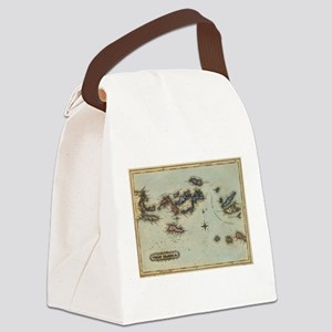 Vintage Map of The Virgin Islands Canvas Lunch Bag