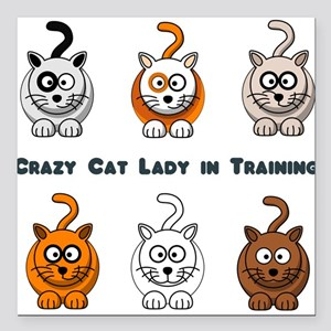 Crazy Cat Lady In Training Square Car Magnet