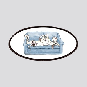 Merlequin couch Patches