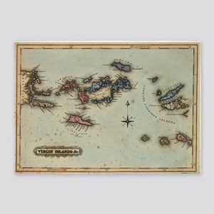Vintage Map of The Virgin Islands ( 5'x7'Area Rug